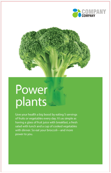 A generic poster featuring a picture of broccoli encouraging people to eat their vegetables.