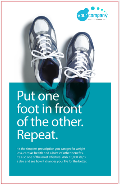 A generic poster featuring a pair of walking shoes encouraging people to walk 10,000 steps a day.
