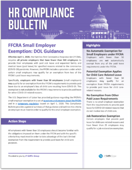 283504 FFCRA Small Employer Exemption - DOL Guidance