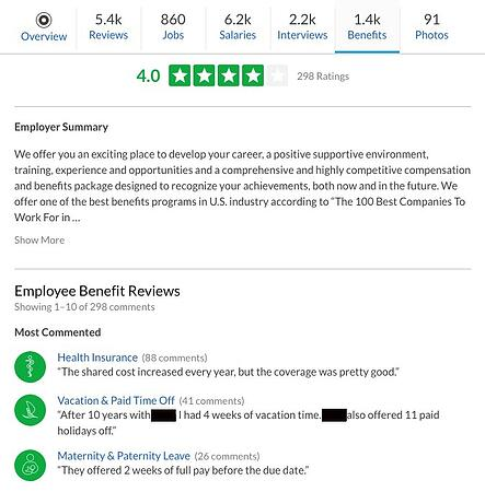 A screenshot of an employer's benefits review page.