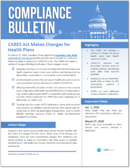 CARES Act Makes Changes for Health Plans