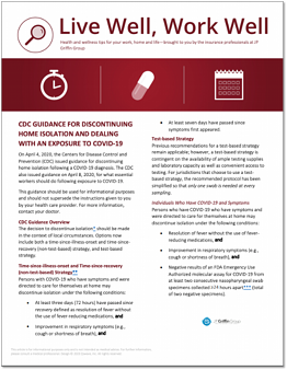 CDC GUIDANCE FOR DISCONTINUING HOME ISOLATION AND DEALING WITH AN EXPOSURE TO COVID-19