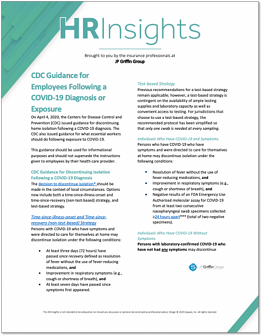 CDC Guidance for Employees Following a COVID-19 Diagnosis or Exposure