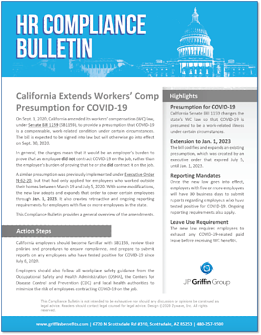 California Extends Workers Comp Presumption for COVID-19