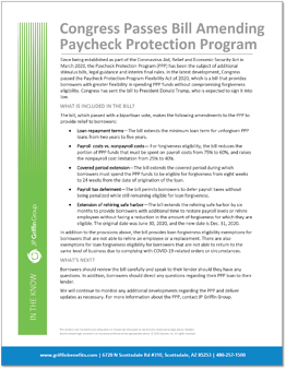 Congress Passes Bill Amending Paycheck Protection Program