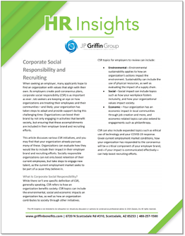 Corporate Social Responsibility and Recruiting F
