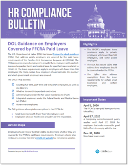DOL Guidance on Employers Covered by FFCRA Paid Leave