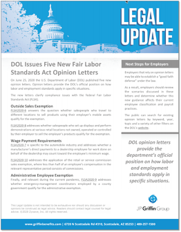 DOL Issues Five New FLSA Opinion Letters F