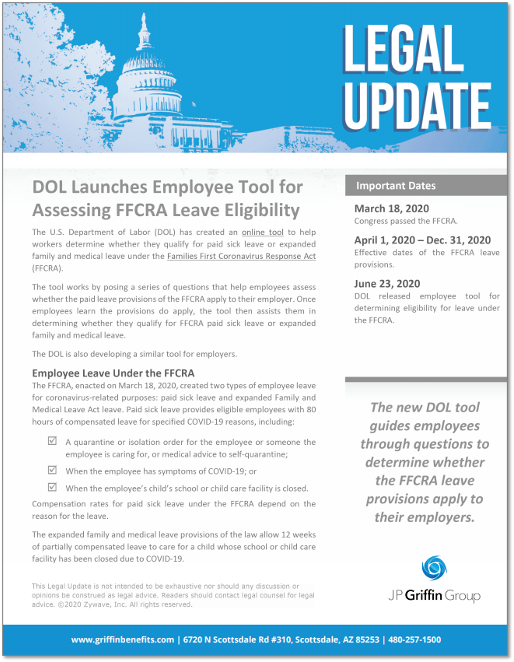 DOL Launches Employee Tool for Assessing FFCRA Leave Eligibility F