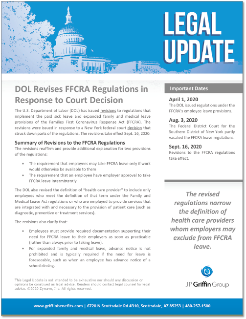 DOL Revises FFCRA Regulations In Response to Court Decision