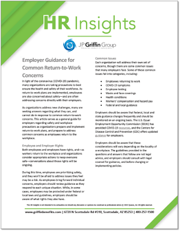 Employer Guidance for Common Return-to-Work Concerns