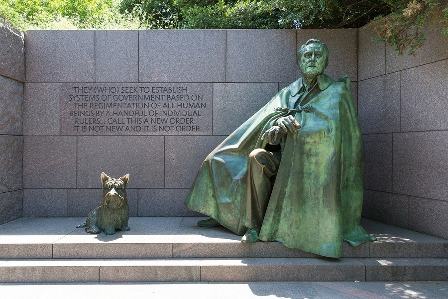 A photo of the FDR Memorial in Washington D.C. FDR played an important role in the history of healthcare in America.