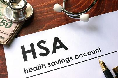A photo of a health savings account paper application.