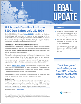 IRS Extends Deadline for Forms 5500 Due Before July 15 2020
