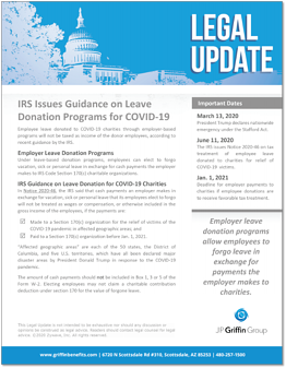 IRS Issues Guidance on Leave Donation Programs for COVID-19 F