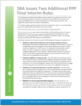 ITK SBA Issues Two Additional Interim Final Rules