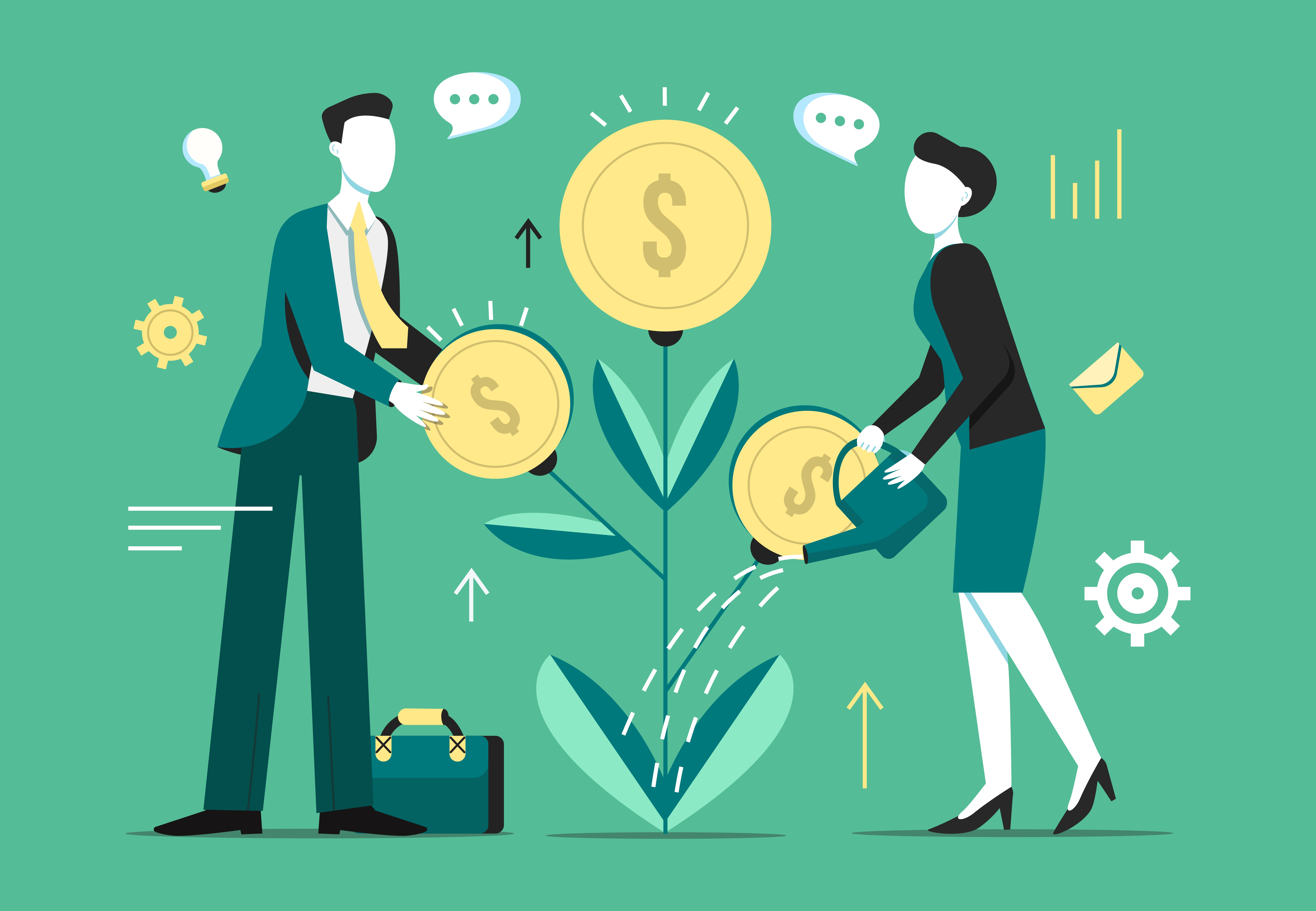 Illustration of business people nurturing an investment tree