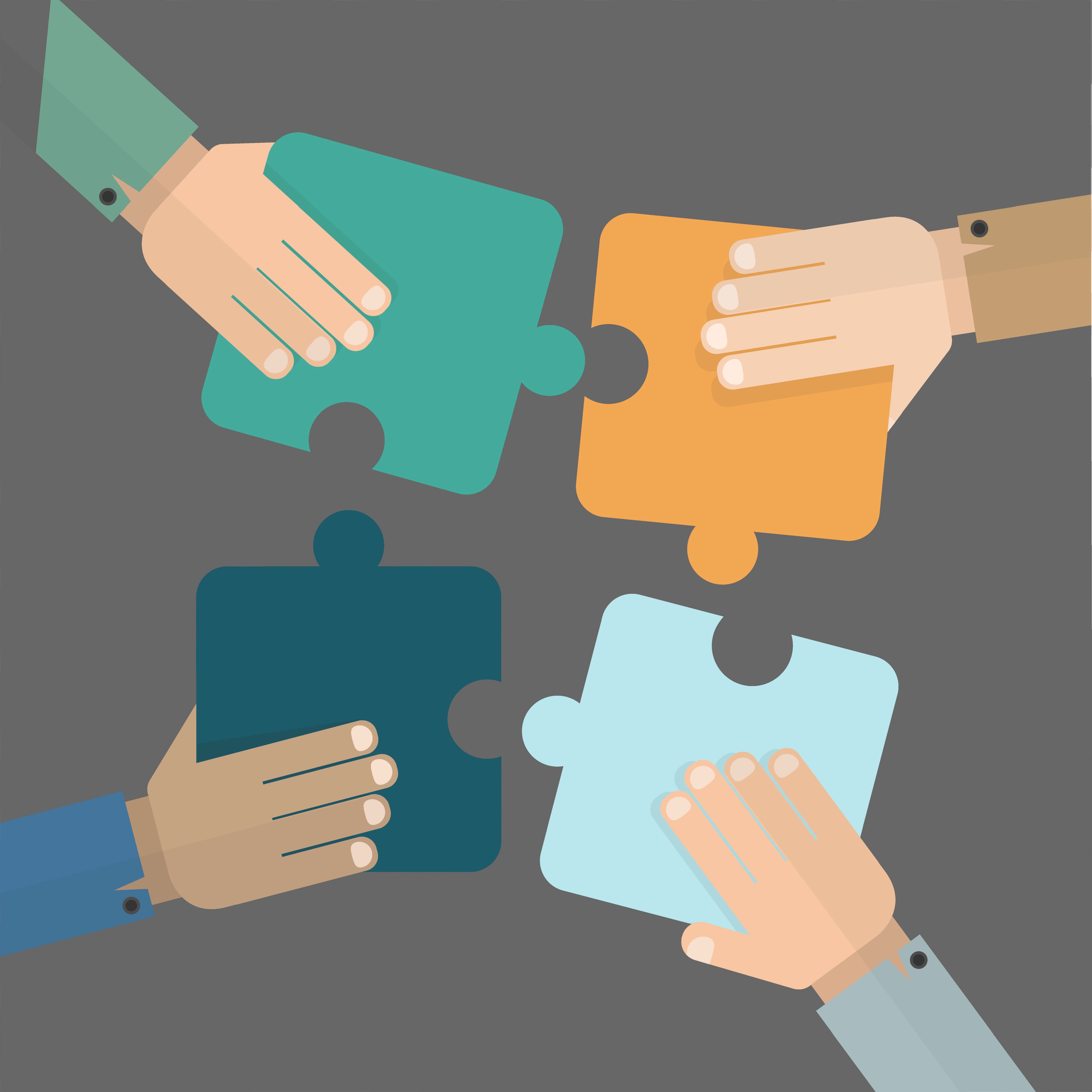 Illustration of multiple hands joining puzzle pieces