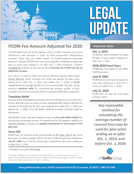 PCORI Fee Amount Adjusted for 2020