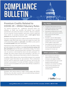 Premium Credits Related to COVID 19 ERISA Fiduciary Rules