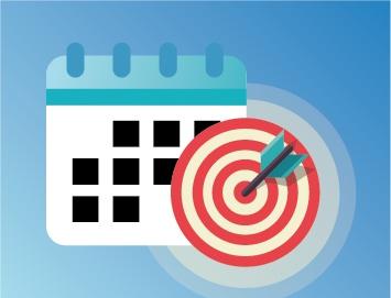 Illustration of an Employee Benefits Brokerage Firm bulls-eye calendar.