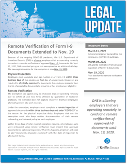 Remote Verification of Form I-9 Documents Extended to Nov. 19