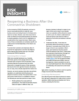 Risk Insights - Reopening a Business After the Coronavirus Shutdown