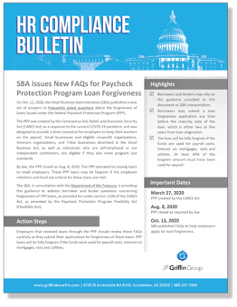 SBA Issues New FAQs for Paycheck Protection Program Loan Forgiveness_FINAL