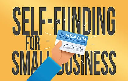Self funding sign with man's arm holding medical id card