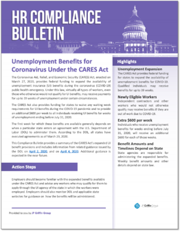 Unemployment Benefits for Coronavirus under the CARES Act