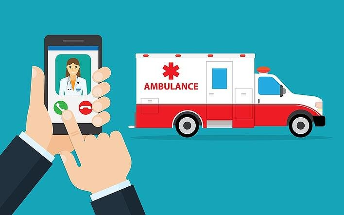 A cartoon image of a person calling for an ambulance.