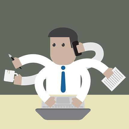 cartoon image of a businessman with 6 arms multitasking.