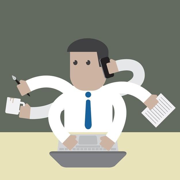 cartoon image of baby boomer working hard