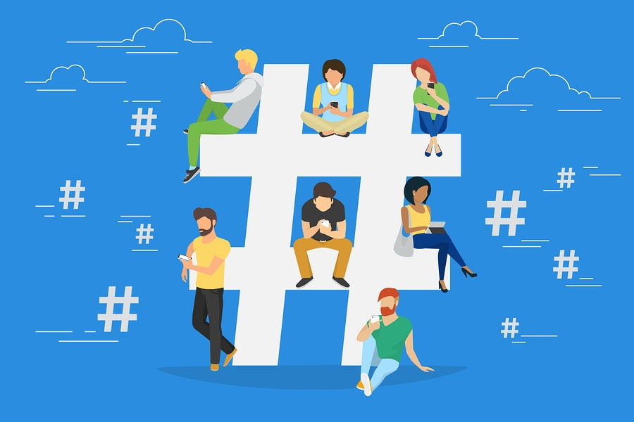 cartoon of a bunch of people sitting on a hashtag.