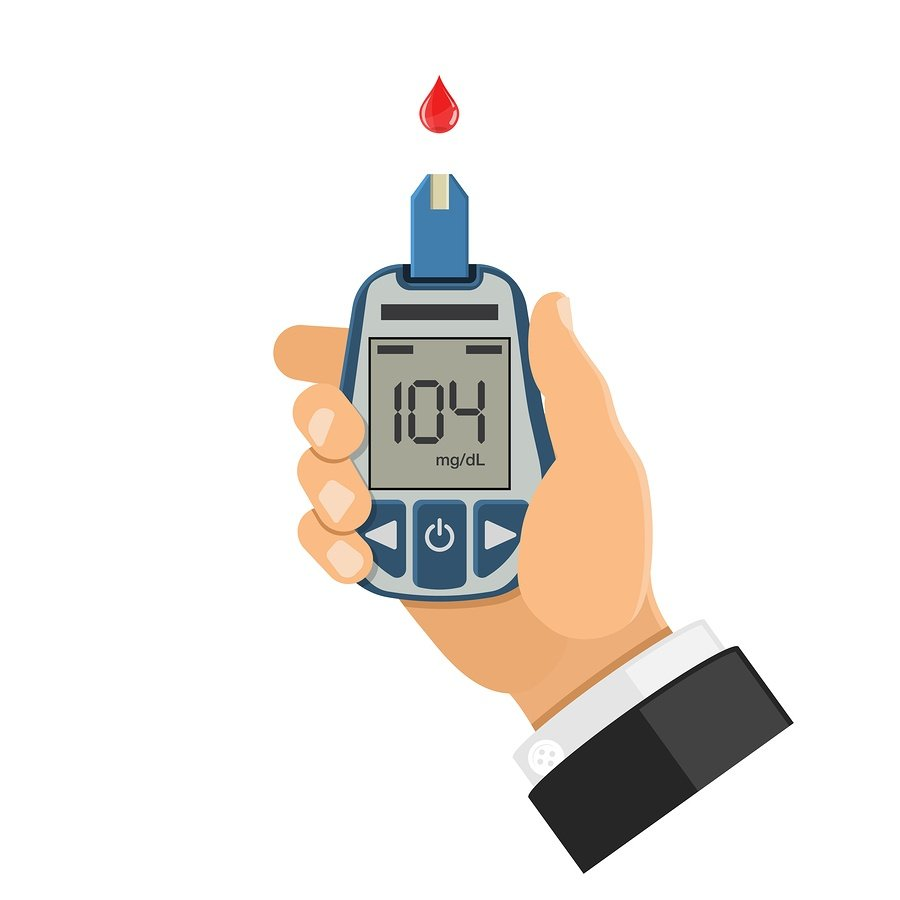 cartoon image of a hand holding a blood glucose device and a drop of blood on the glucose strip.