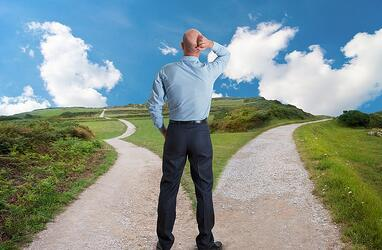 A man standing at a fork in the road, trying to decide which way to go.