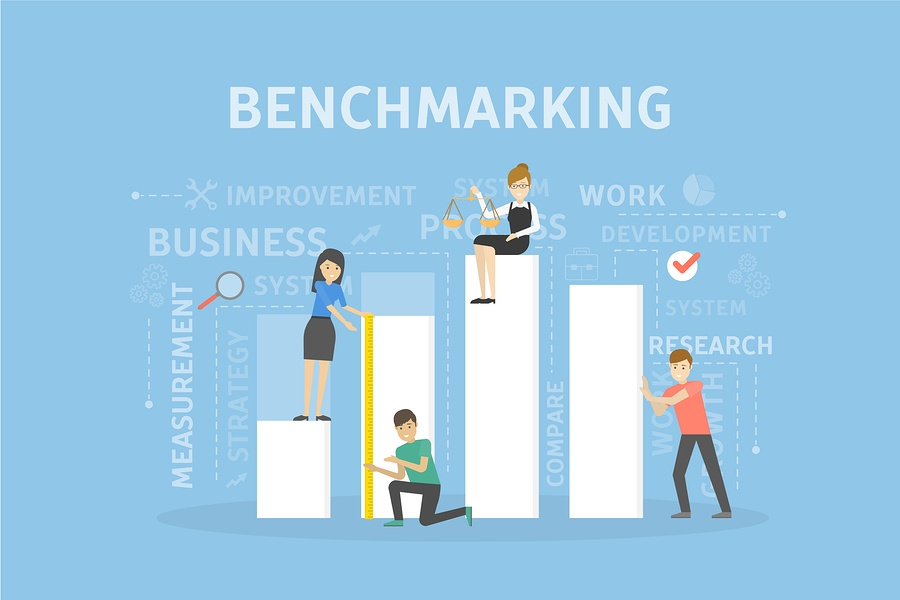 A cartoon image of employees physically measuring things as a metaphor for employee benefits benchmarking.