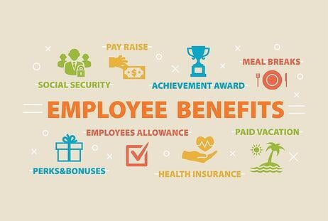 graphic of Employee benefits, including social security, health insurance, perks and bonuses, pay raises, both voluntary and required benefits.