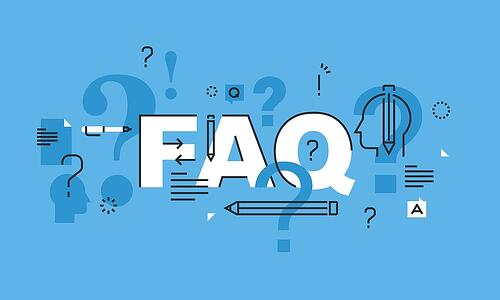A cartoon image of the letters FAQ with pencils and question marks.