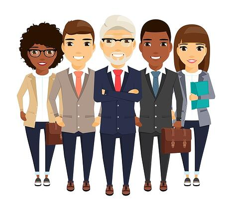 cartoon image of a group of 5 diverse professionals, varying in age, gender, dress, etc.
