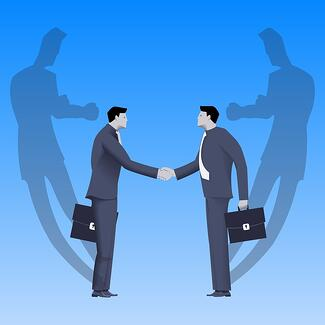 A cartoon image of two men shaking hands, while their shadows square off to fight.