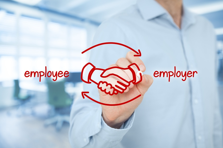 A drawing of two hands shaking in midair, indicating an employer-employee relationship.