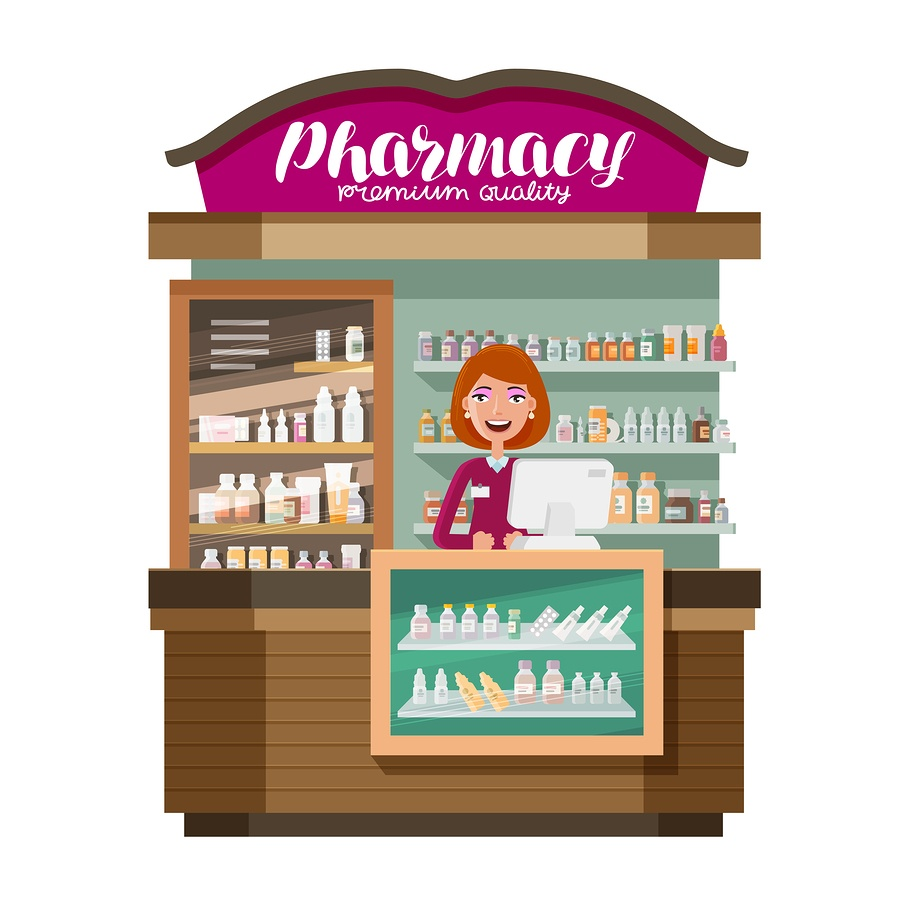 A cartoon image of a smiling pharmacist at her computer.