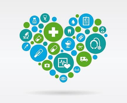 An image of icons representing various aspects of the healthcare system in the shape of a heart.