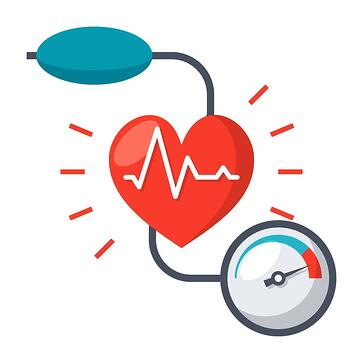 blood pressure device with a cartoon heart in the center.
