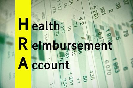 A graphic highlighting the H, R, and A in the words health reimbursement account.