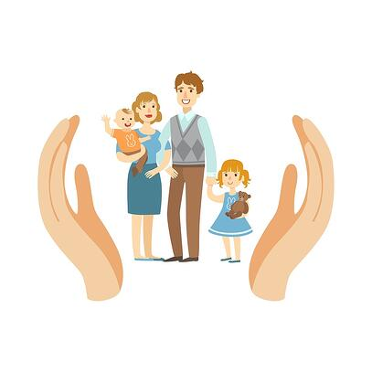 A cartoon image of a family of four being held up by two helpful hands.