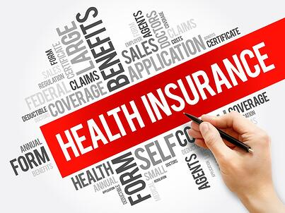 A word cloud of health insurance terms.