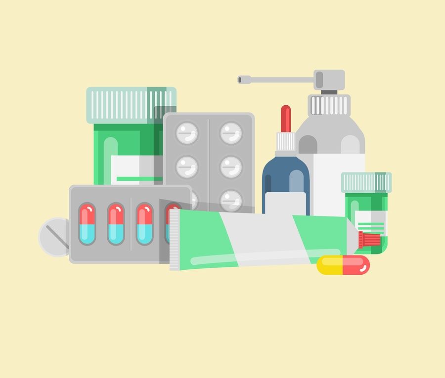 A cartoon image of multiple types of medication in blister packs, tubes, and bottles.
