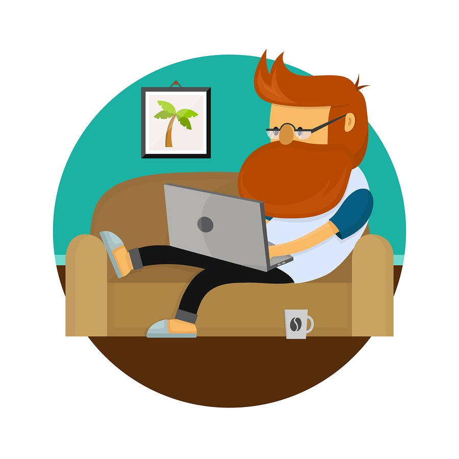 cartoon image of a man working on the couch in his slippers on a laptop. There is a coffee cup at his foot and he is seen lounging casually.